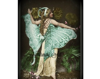 Portrait Fairy Cabniet Card Photograph Instant Download Art Nouveau Woman Altered Art Image Vintage CDV Cabniet Digital