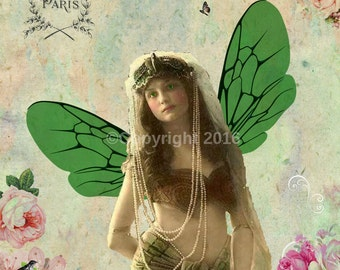 Gypsy  Fairy Victorian Ephemera Flowers Vintage Original  Printable Digital Collage Print Altered Art Scrapbook Page Instant Dow