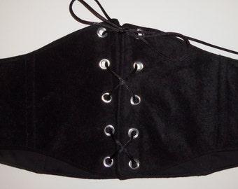 "Black Velvety/Suede Under Bust Corset or Waist Chincher for Renaissance Pirate or Steampunk Costumes 26 1/2"" Waist Size 12 (B)"