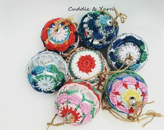Christmas Baubles, Crochet Ornaments, Crochet Christmas Decorations, Colored Balls, Covered Balls.
