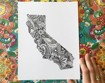 California State Print/California Outline Art