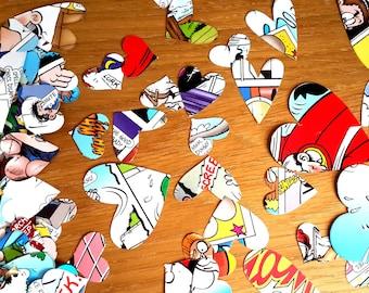 Comic Book Confetti 500 Hearts - Comic Book Party- Comic  Book Paper Hearts - Comic Wedding Paper Hearts -  Comic Book Wedding Table Decor