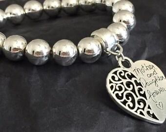MUM DAUGHTER HEART-  Silver Beaded Bracelet