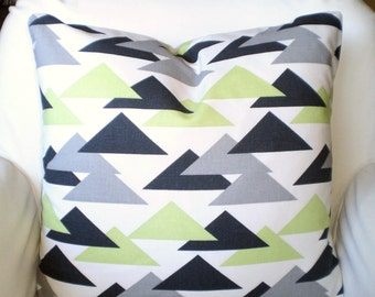 Green Gray Charcoal Decorative Throw Pillow Covers, Cushions, Kiwi Green Geometric Pillows, Couch Pillows, Jacklyn, One or More All Sizes