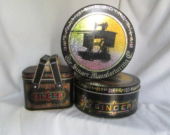 Singer metal tins, Singer sewing decor, Sewing decor, Vintage tin, Vintage sewing decor, Vintage sewing, Singer storage, Sewing storage