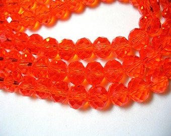 8mm X 12mm Orange Beads Bright Orange Faceted Glass Rondelles Crystals 70 Beads Sparkling Rondelles Orange Jewelry Crystal 23 inch Strand