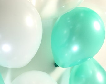 Mini Balloons (15) - Turquoise / White / Clear Mix - Party Supplies