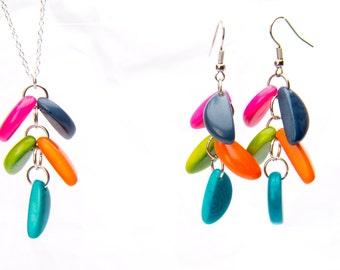 Handmade Colorful Tagua Nut Necklace and Earrings