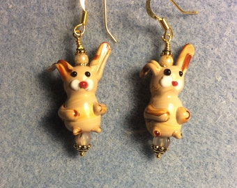 Brown and tan lampwork bunny rabbit earrings adorned with tan Czech glass beads.