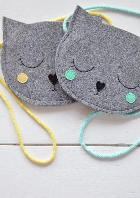 Kids bag Purse for girl Gift for girl Cat Bag Mini Grey