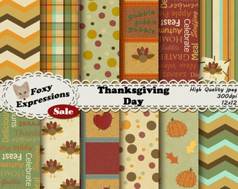 Thanksgiving Day digital paper pack comes in fall colors. Designs include pumpkins, turkeys, leaves, stitches, hearts, descriptive words etc