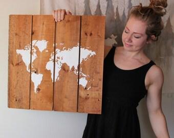 world map, original reclaimed wood art