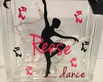 Glass Block, Ballerina Glass Block, Ballerina Block, Ballet Glass Block, Ballet Block, Dancer Glass Block
