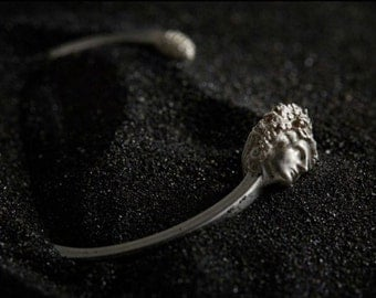 Dionysus silver cuff bracelet - beautiful mythological sculptural piece with the head of Greek god of wine and a pine cone
