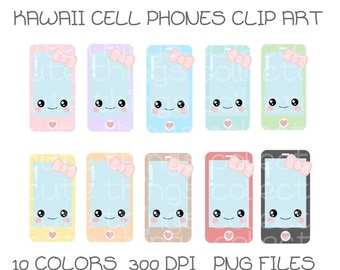 Kawaii Cell Phone Mobile Clip Art Digital Scrapbook Planner Sticker Instant Download Printable Invitation Card Birthday PNG