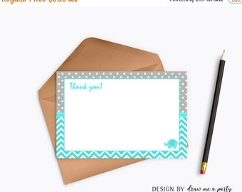 ON SALE Elephant Thank You Cards,  Elephant Teal Baby Shower Decorations , Party Printable , Instant Download