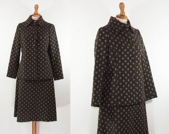 Vintage Jacket and Skirt Suit / 60s / Jackie O Style / Brown Jacket and Skirt Set