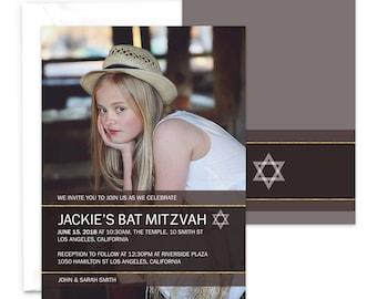 Bat Mitzvah Party Invitation / Photo Bat Mitzvah Invitation / Printable Invitation / Star of David Mitzvah Party Invitation