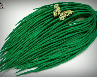 "Wool Dreadlocks Dreads "" Green Summer "" DE"