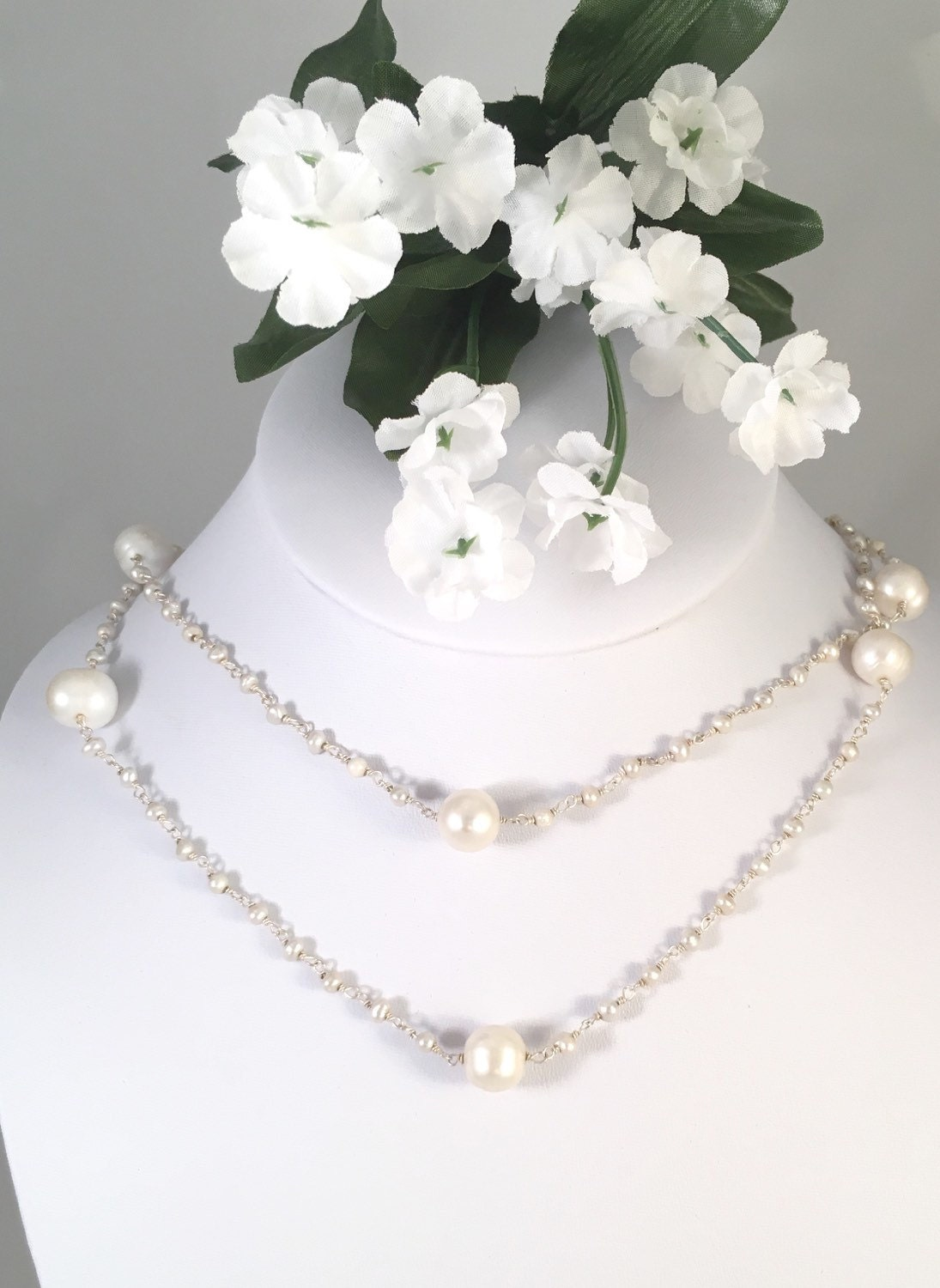 White Pearl Hand Wired Necklace with Sterling Silver, Bridal Jewelry ...