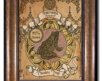 Harry Potter - Vintage Style Honeydukes Sweetshop Chocolate Frog Poster - Multiple Sizes 5x7, 8x10, 11x14, 16x20, 18x24, 20x24, 24x36