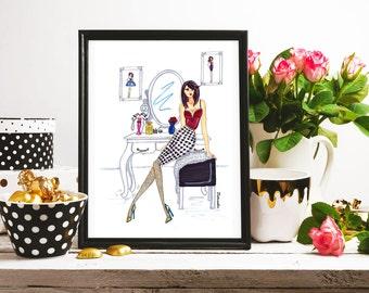 Handmade print,Fashion illustration, Wall decor - GIRLBOSS