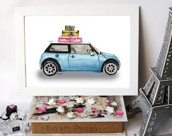 Beautiful handmade print,Fashion illustration - Blue mini