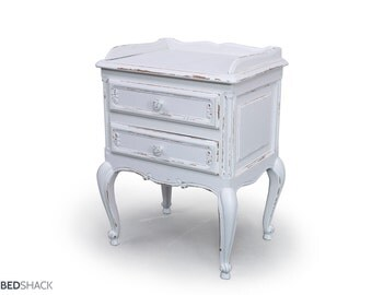 White Shabby Chic Original 1950's Vintage French Oak Wood Bedside Table
