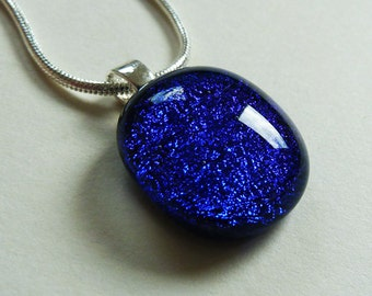 Blue pendant, cobalt blue, purple and black fused dichroic glass pendant on a silver snake chain