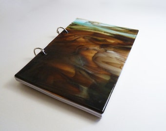 A5 sketchbook with strong fused glass cover, in transparent blue brown pattern and white unlined paper