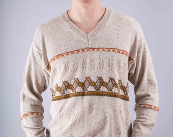 Vintage sweater - vintage knitted sweater - beige - vintage 1970 - sweater - men's sweaters - vintage men's sweater