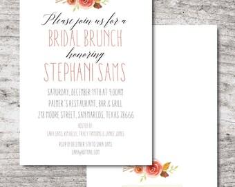 "Printable Flower Bridal Shower/Luncheon Invitation, Printable PDF, 5""x7"", Customizable"