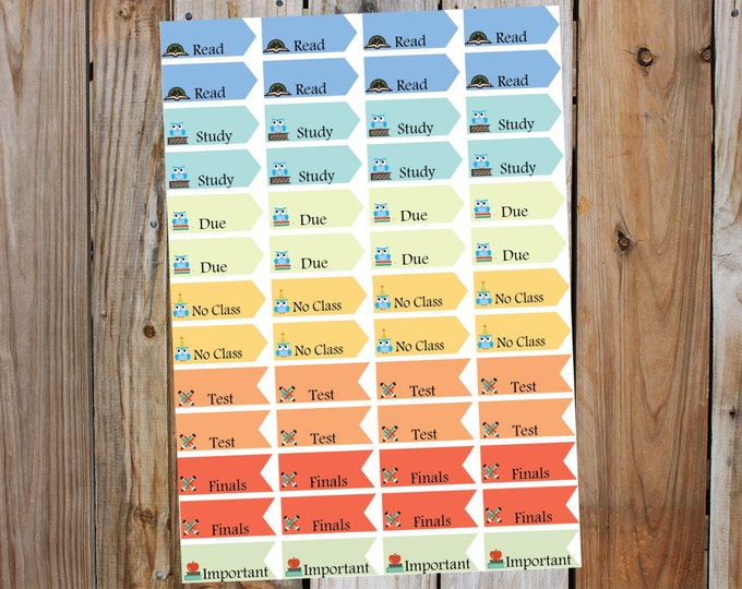 Back to School - College Flag Reminders Planner Stickers, Fits Erin Condren Life Planner
