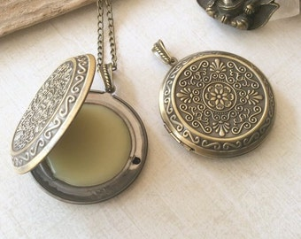 Sandalwood and patchouli Solid Perfume Locket Pendant