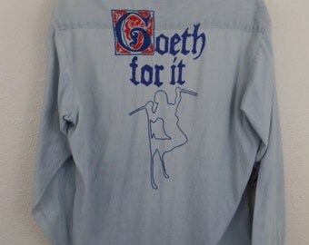 Awesome Vintage 70's Go For It Goeth Chainstitched Ski Chambray Denim Shirt L
