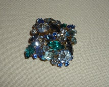 A Fabulous Vintage Made in Austria Brooch / Pin - Shades of Blue & Green Facet Cut Crystal Stones Set Upside Down