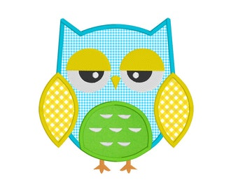 Instant Download Baby Owl Machine Embroidery Design, Sleepy Owl Applique Machine Embroidery Design No: JG00081-2