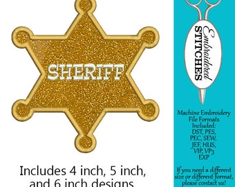 Sheriff Badge Applique Machine Embroidery Design 3 Sizes Included Instant Download