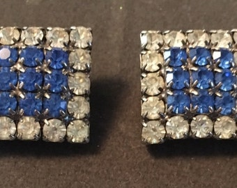 Vintage rhinestone square clip-on earrings blue and white crystals