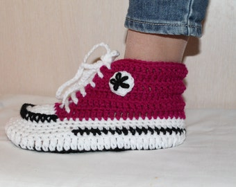 Crochet Pattern Converse Slippers,  Crochet Pattern Slippers, Crochet Pattern Converse, Crochet Converse, Woman Converse Slippers