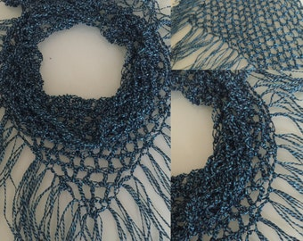 Metallic Blue Ribbon Yarn Scarf, Ladder Yarn Scarf, Ladder Ribbon Yarn, Ribbon Scarf, Blue Scarf, Ladder Yarn, Glitter Yarn, Crochet Scarf