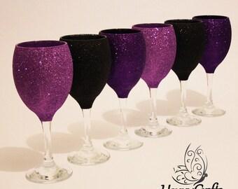 Glitter Top Wine Glasses Set of 6  Black Purple Cadbury Purple