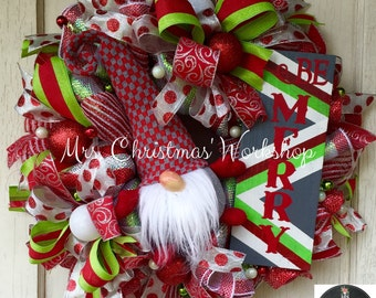 Christmas wreath elf wreath gnome wreath deco mesh wreath