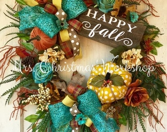 fall wreath turquoise fall wreath grapevine wreath pumpkin wreath