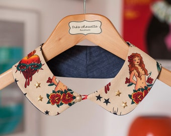 Tattoo pattern rounded Peter Pan collar with bras star studs and bras shank button