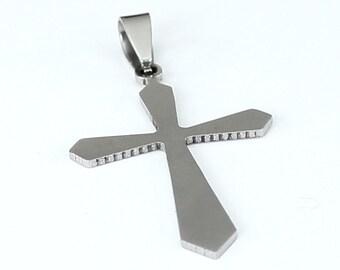 1pcs--Stainless Steel, Cross, 25x48mm (B36- 11)