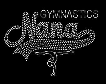 Gymnastics Nana Rhinestone Shirt- Vneck Tshirt, Hoodie, Long Sleeve Tshirt T T-shirt Sports Mom Gymnast Great Gift!