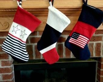 Set of 3 Sweater Christmas Stocking, patriotic stocking,Holiday Stocking, XMAS stocking, upcycled sweater stocking, holiday decor, Americana
