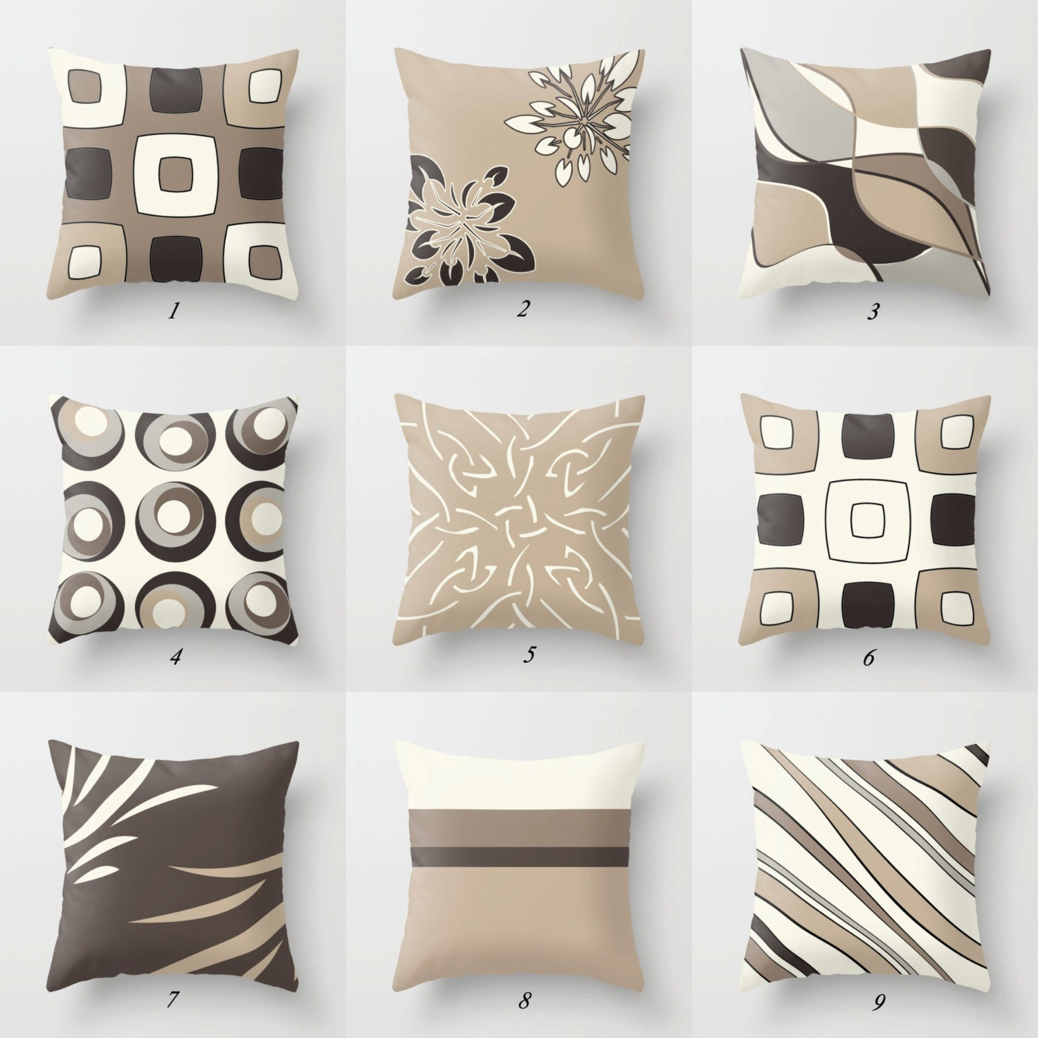 Neutral Throw Pillows Beige Pillow Brown By Designbyjuliabars