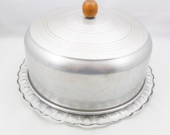 """Clear Glass Footed Cake Plate with Aluminum Cover, 11 1/2"""" Plate"""
